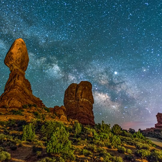 Balanced Rock by night Monument Valley USA